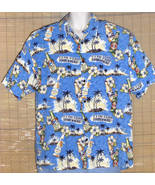 BIG DOGS Hawaiian Shirt Size Large Blue White Beer 5 O'Clock Somewhere  - $24.95
