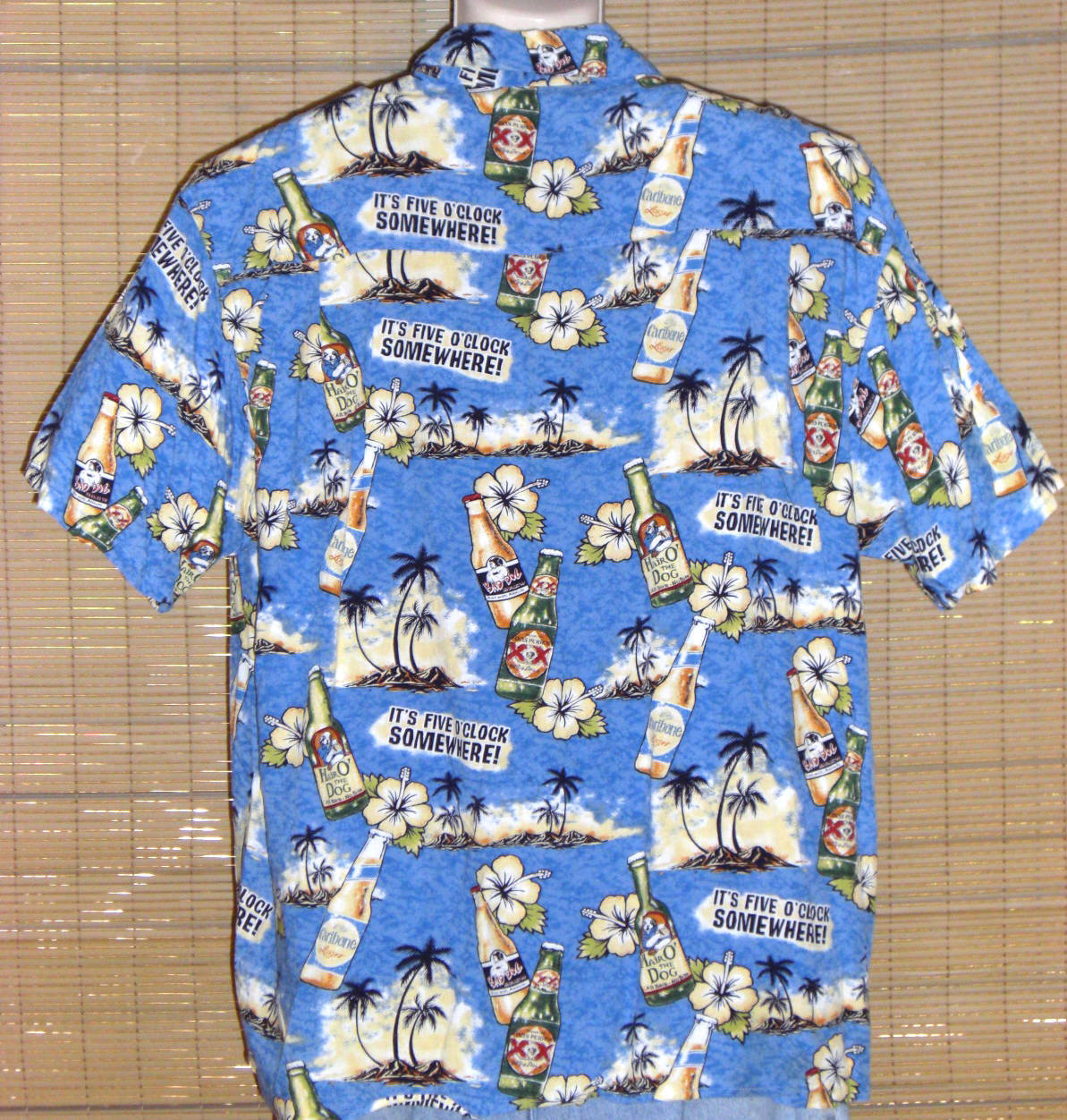 BIG DOGS Hawaiian Shirt Size Large Blue White Beer 5 O'Clock Somewhere