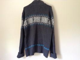 Aeropostale Gray Zip Up Long Sleeve Sweater White and Blue Design Size Medium image 5