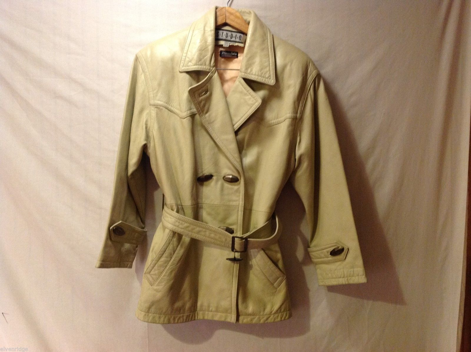 Studio Siena Womens Cream Colored Leather Coat, Size Small