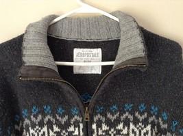 Aeropostale Gray Zip Up Long Sleeve Sweater White and Blue Design Size Medium image 2