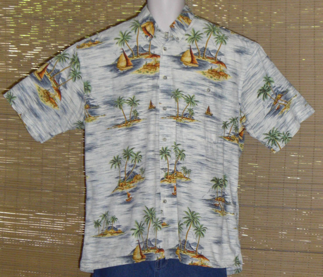 CAMPIA MODA Hawaiian Shirt Large White Blue Yellow Islands Size Large