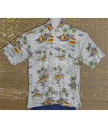 CAMPIA MODA Hawaiian Shirt Large White Blue Yellow Islands Size Large - $19.95