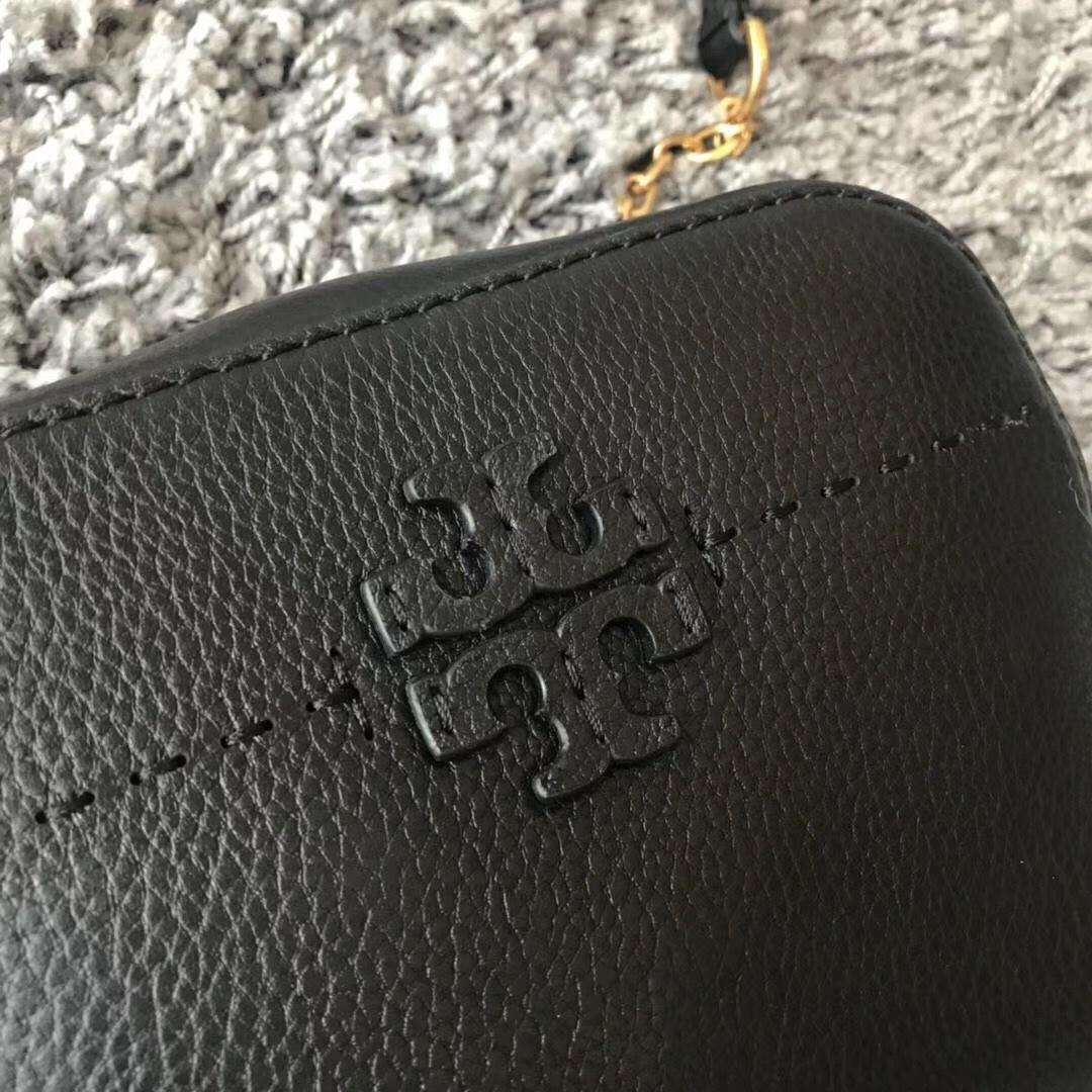 Tory Burch McGraw Small Camera Crossbody Bag Leather Handbag Black Authentic