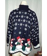 Ugly Christmas Sweater Snowman Snowflakes Large Unisex Made in USA  - $19.99