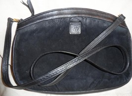 Vintage ANNE KLEIN Calderon Black Suede Cross Body Shoulder Bag Leather ... - $30.96