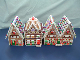 Completed handmade plastic canvas gingerbread village set of 3 completed... - $29.70