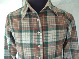 Vintage  woolrich brown green plaid flannel button long sleeve  shirt wo... - $21.95