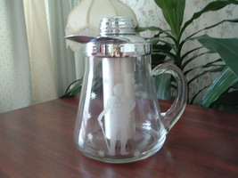 Vintage chillit glass pitcher with lid by Gilley inc. Roman soldier design - $54.45