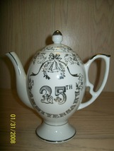 Tea Pot White with Silver Desgin 25th Anniversay - $12.99