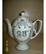 Tea Pot White with Silver Desgin 25th Anniversay - $12.99