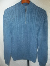 Men's Tasso Elba Cable Knit Cotton Size L Sweater | Blue 1/2 Zip V Neck  - $470,44 MXN