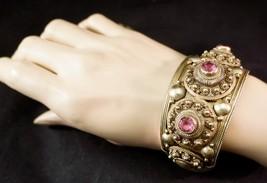 Heavy Siam Gold over Sterling Silver Vermeil Bracelet Filigree & Pink St... - $225.00