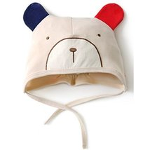 Baby Bear Hat Toddler Soft Hat Infant Cotton Hat 0-18Months (Light Apricot)