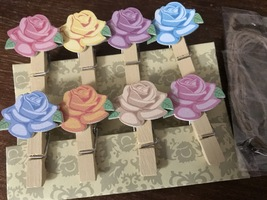 120pcs Rose Wood Pegs,Cute Wooden Paper Clips,Pin Clothespin,Wedding Dec... - $18.00