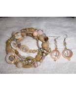 Tan and Cream Glass and Ceramic Bead Handmade Gypsy Bracelet and Earring... - $8.00