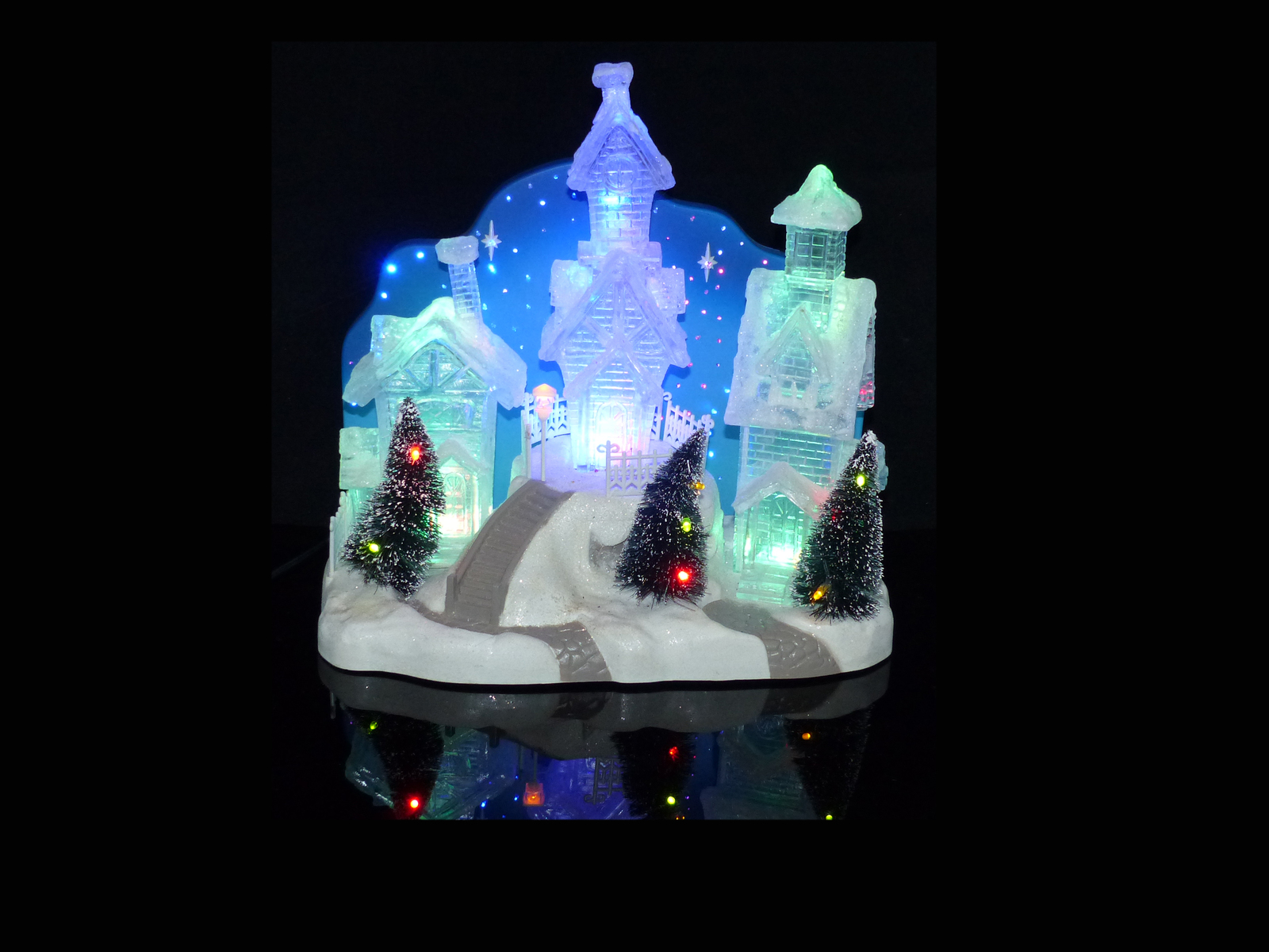 Primary image for Electric Snow Village - Blue crystal color - Christmas snow scene - mantle piece