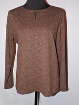 Talbots Knit Top Shirt Career Business Women Keyhole Neckline Brown 1X p... - $25.49