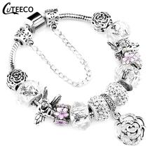 CUTEECO 925 Fashion Silver Charms Bracelet Bangle For Women Crystal Flow... - $7.99+