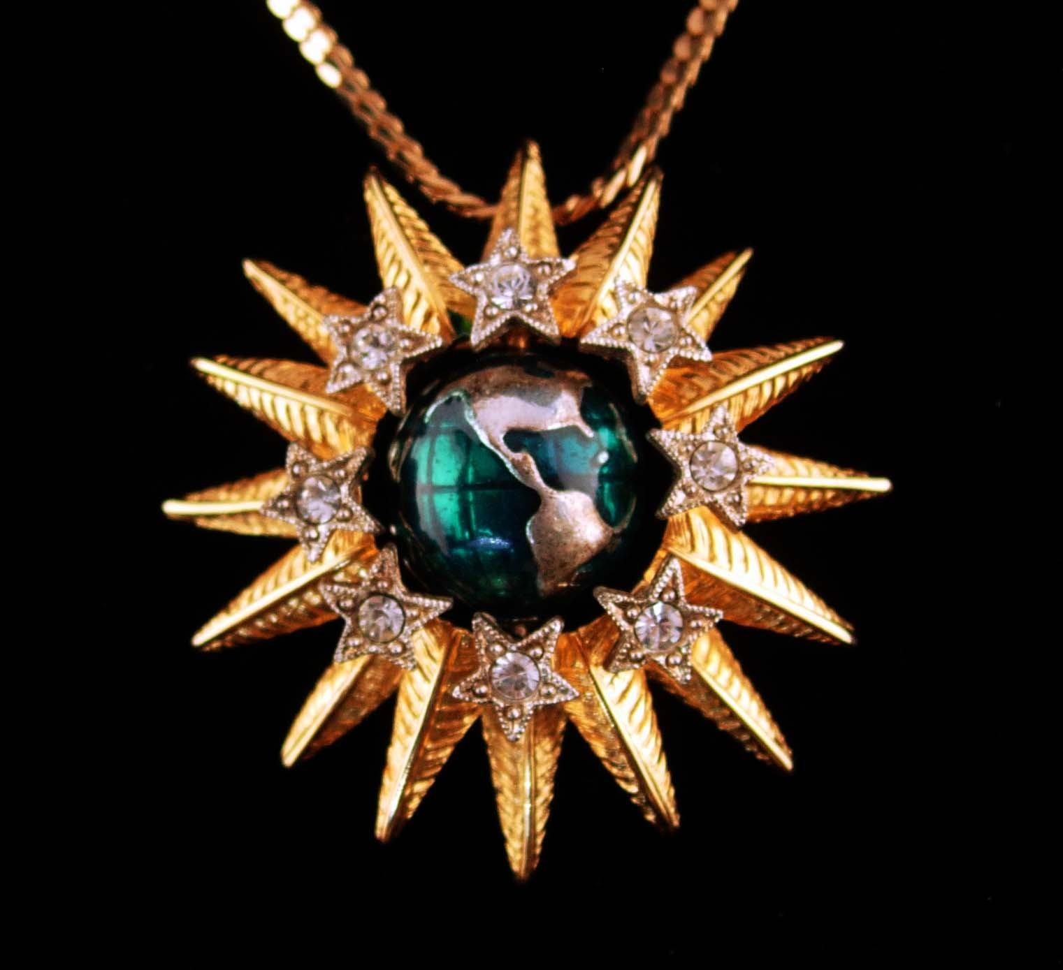 Mechanical Brooch / Spinning globe Sun / Vintage Graziano necklace- estate jewel