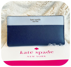 KATE SPADE LEATHER CAMERON LARGE SLIM BIFOLD WALLET IN BLUE MULTI - $58.29