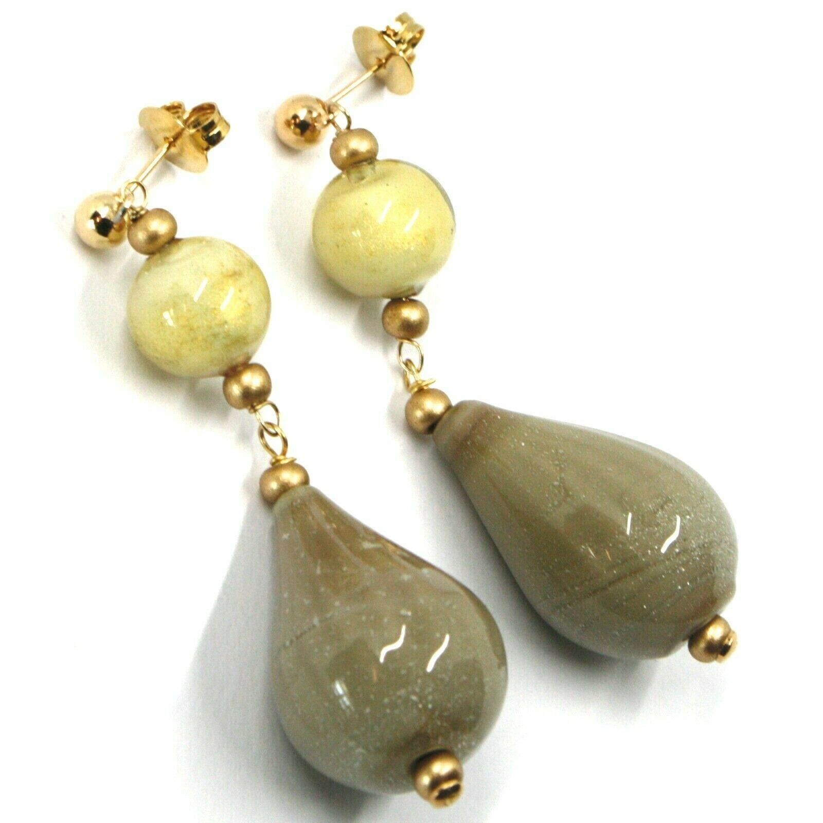 Earrings Antica Murrina Venezia, OR631A57, Hanging, Drop Glass Beige 3cm