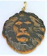 Carved Tiger Eye Lion Gold Wire Wrap Pendant 67 - $28.02