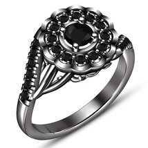Round Cut CZ 14k Black Rhodium Plated 925 Silver Womens Flower Shape Bridal Ring - $94.60