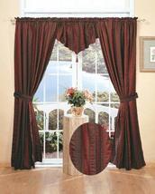 Holiday Window in Bag Curtain Set 5PCS Stripe Burgundy Creative Linens - $58.36