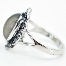 Vintage Inspired Silver & Black Crystal Accent Color Changing Cabochon Mood Ring image 2