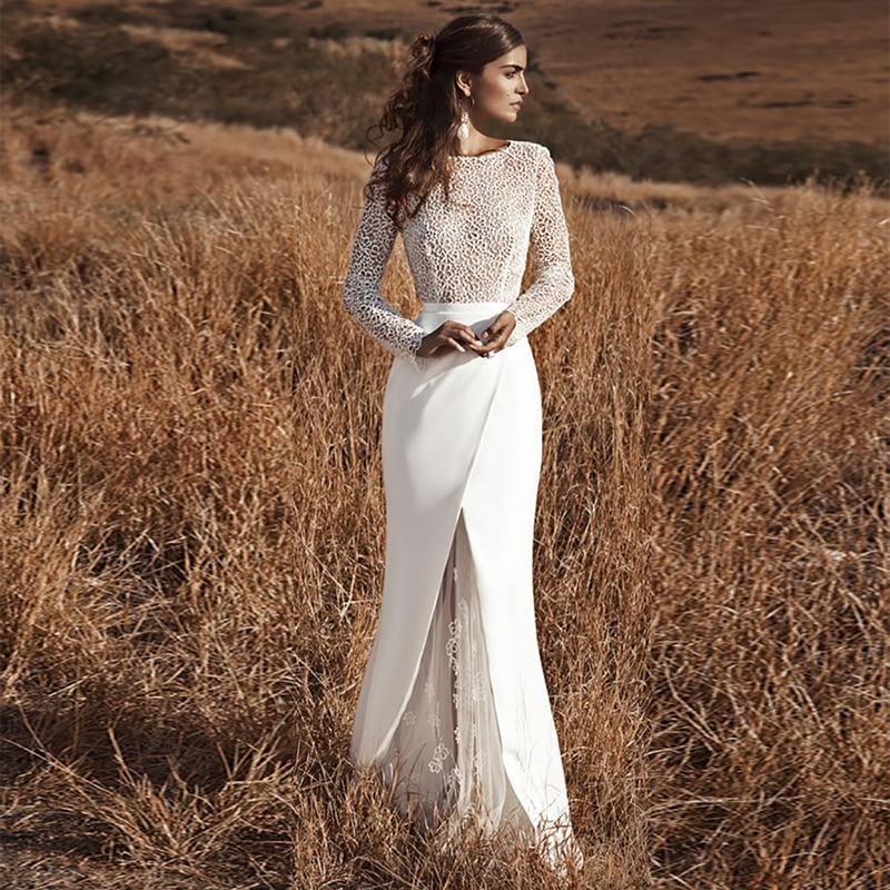 Mermaid boho wedding dress long sleeves wedding gowns lace flowers elegant open back bride dress