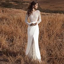 Elegant Mermaid Boho Wedding Dress Long Sleeves Lace Flowers Open Back
