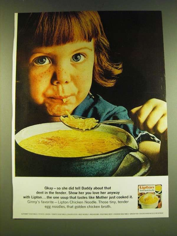 1966 Lipton Chicken Noodle Soup Ad - Okay - so she did tell Daddy about that