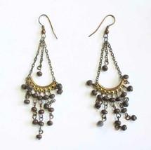 Ancient Style Chandelier Black Bead Gold-tone Pierced Earrings 1990s vin... - $12.30