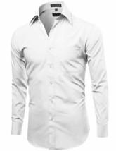 Omega Italy Men's Designer Long Sleeve Solid Regular Fit White Dress Shirt image 2