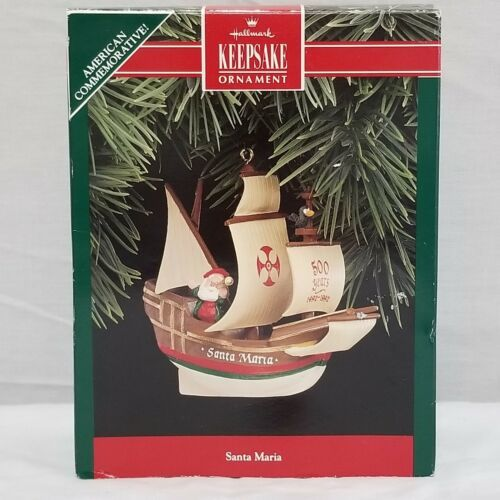 Vintage 1992 Hallmark Keepsake Ornament Santa Maria Ship Christopher Columbus