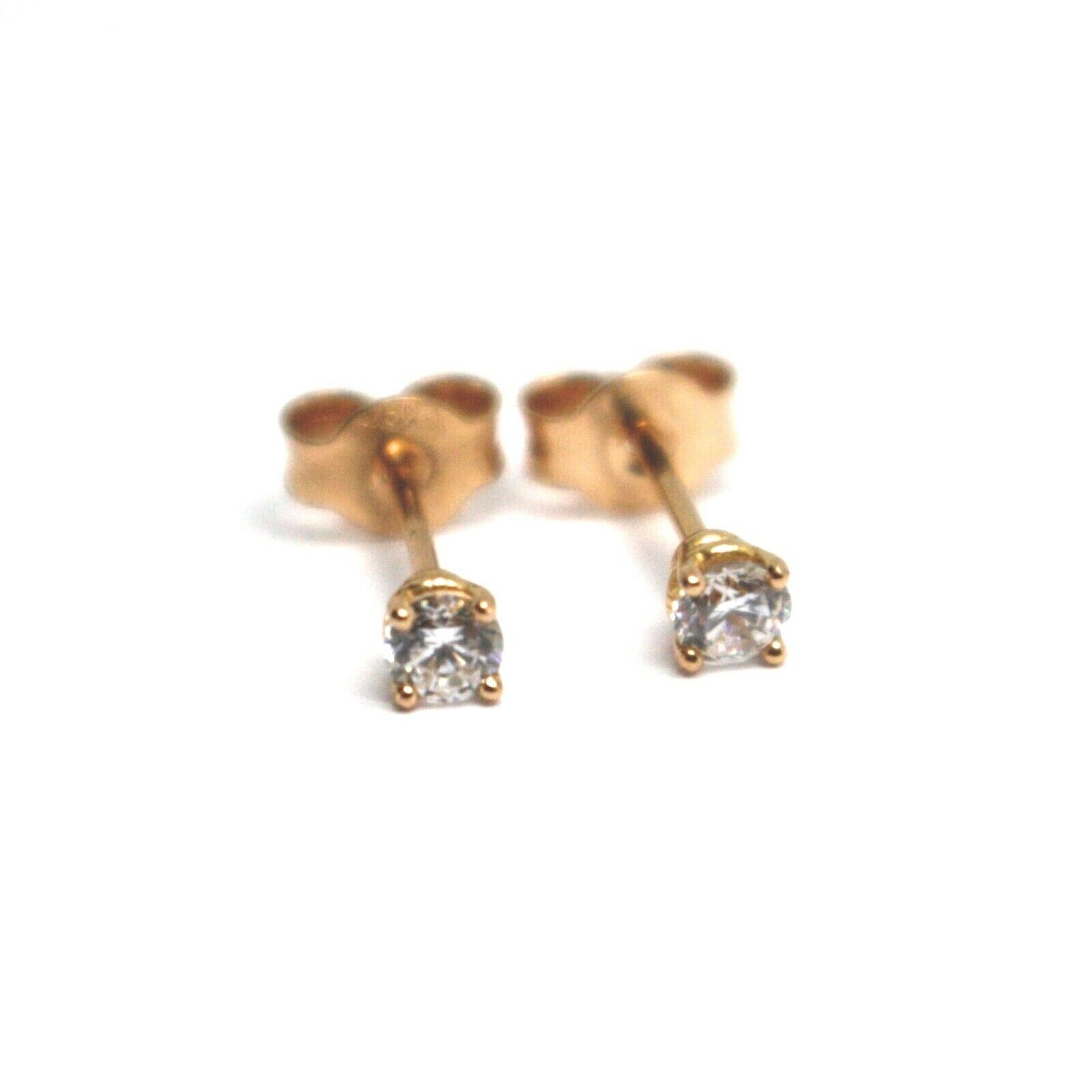 18K ROSE GOLD MINI BUTTON EARRINGS WITH WHITE CUBIC ZIRCONIA, DIAMETER 3mm 0.12""