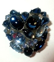 VINTAGE LARGE GLASS & RHINESTONE BLUE BROOCH PIN - $60.00
