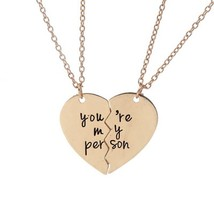 You Are My Person Broken Heart Pendant Necklace Antique Engraved Gift - $7.00