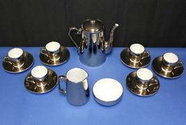 Royal Worcester 16 Pc. Silver Luster Teapot, Sugar, Creamer, Demitasse &... - $74.25