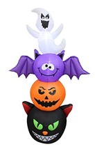 6 Foot Tall Halloween Inflatable Stacked Figures Totem Pole Ghost, Bat, ... - $86.20