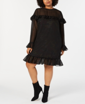Betsey Johnson Trendy Plus Size Metallic Dot Dress Color Black Size 18W - $69.99
