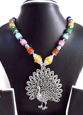 Indian Bollywood Oxidized Pendant Pearls Ethnic Necklace Women's Fashion Jewelry