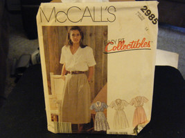 McCall's 2985 MIsses Blouse & Skirt Pattern - Size 14 Bust 36 - $9.43
