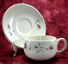 Franciscan Duet Cup And Saucer 1950s Oval Saucer Pink Retro Flowers Tea ... - $12.00