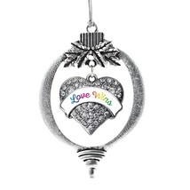 Inspired Silver Love Wins Pave Heart Holiday Christmas Tree Ornament With Crysta - $14.69