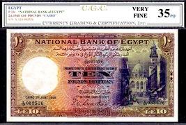 "EGYPT P23c 1950 10 POUNDS ""MOSQUE of SULTAN"" GRADED CGC 35PQ!  VIBRANT C... - $550.00"