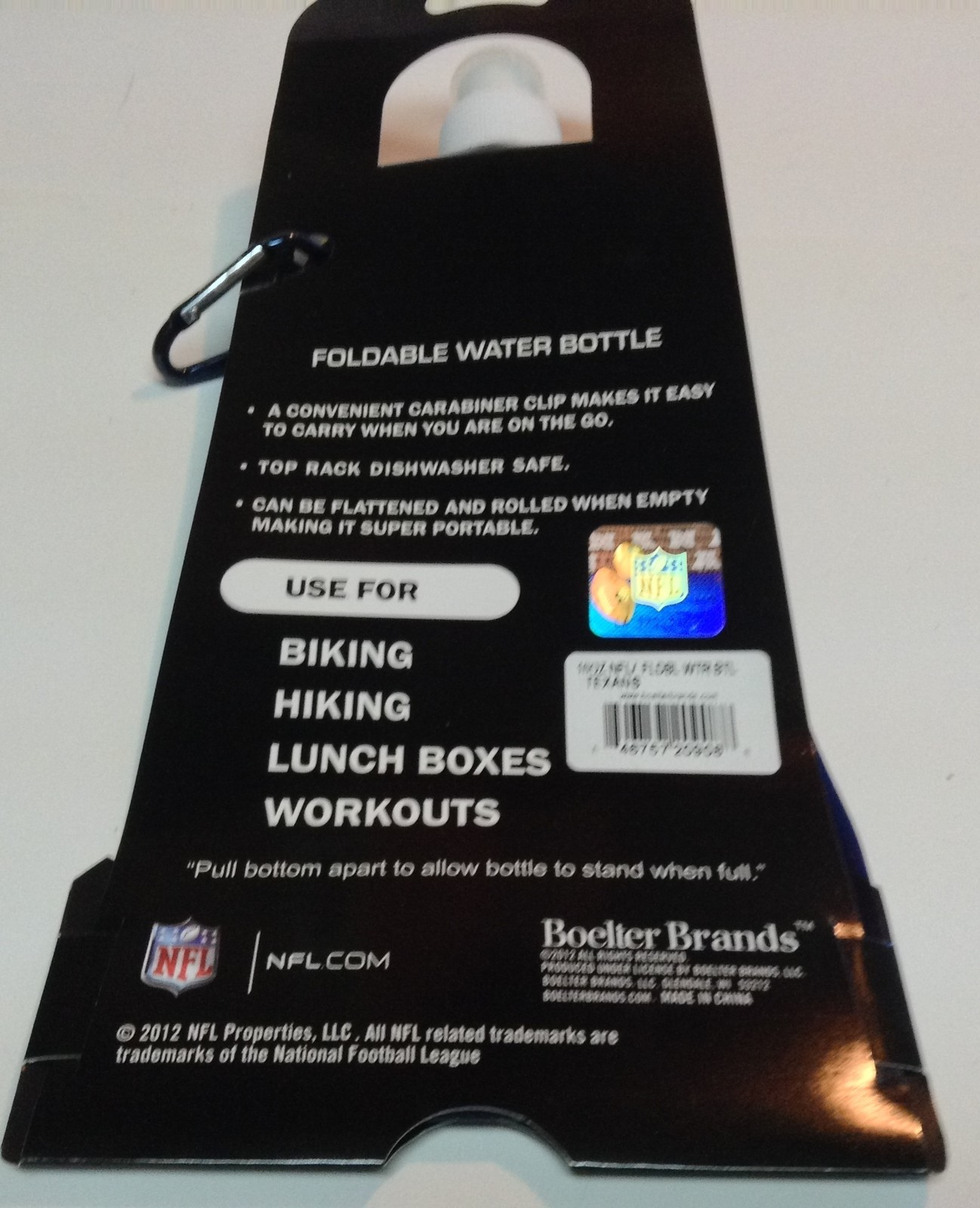 NFL Houston Texans Foldable Water Bottle 16 oz NWT