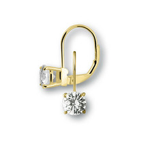 Earrings New bling Sterling silver  925 with white rond zirconia gold pl... - $21.78