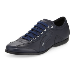 $560 SALVATORE FERRAGAMO Gancini Logo Mille 6 Italy Navy Leather Sneaker... - $564.87 CAD